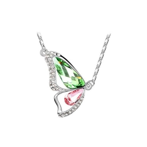 Green peridot and light pink - breaking cocoon silver necklace with Swarovski crystal elements