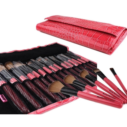 15pc studio professional cosmetic makeup brush set kit faux crocodile case - for eye shadow, blush, eyeliner