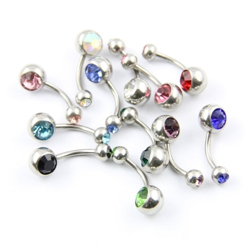 12 pcs Stainless Steel 316L Double Jewel Belly/Navel Bars 10mm Barbell Stud Button - Body Piercing