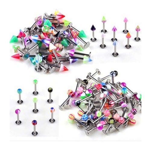 50 pcs Ball & Spike 10 mm Lip Studs Assorted Colour Tragus Monroe Labret Gift