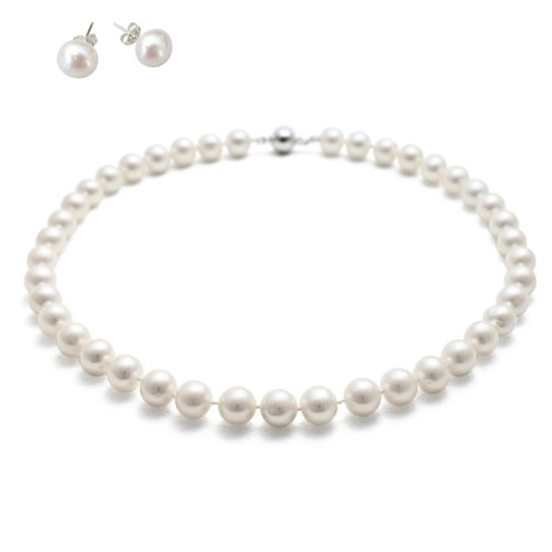 Round 9-10mm Freshwater White Pearl 45cm Necklace for Women & Matching Stud Earring Set