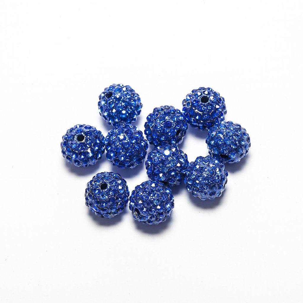 10 pcs Wholesale 10mm Sky Blue Shamballa Crystal Pave Clay Disco Ball/Beads Czech