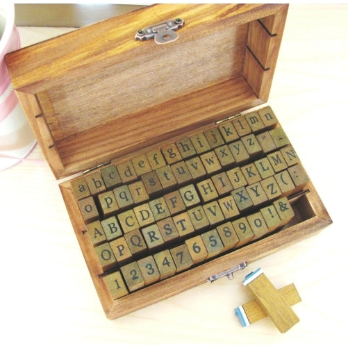 Alphabet, Numbers & Symbols Wooden Rubber Stamp - 70 pcs set in Vintage Box