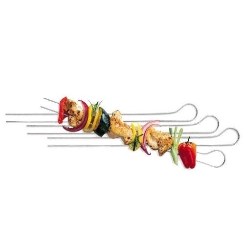 Steel meat and vegetable double prong Skewers for kitchen, Barbecue, 33cm - 8 Pack