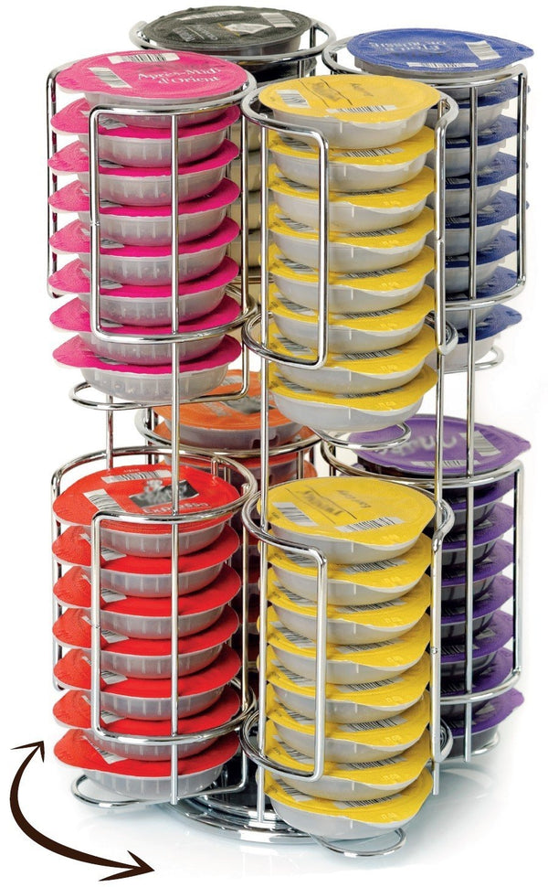 Revolving Rotating 64 Capsule Coffee Pod T-DISC Holder Tower Stand Rack for Tassimo