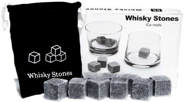 9 PCS Whisky Chilling Rocks Ice Stones Drinks Cooler Cubes Whiskey Scotch on the Rocks Granite with a Muslin Pouch