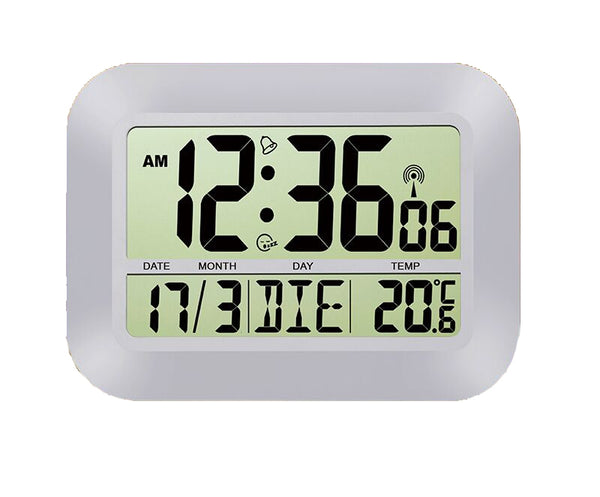 Wall Clock with alarm, snooze, calendar and temperature display, radio controlled, silver