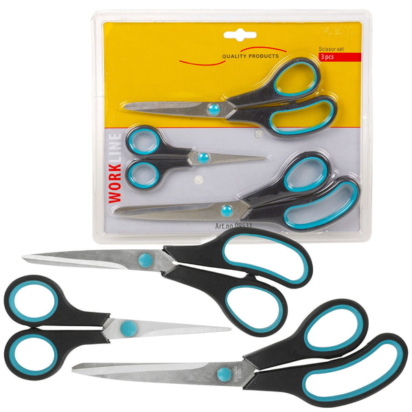Easy Grip Soft Grip Scissor - Black/Blue (Set of 3)  13cm + 21cm + 25 cm