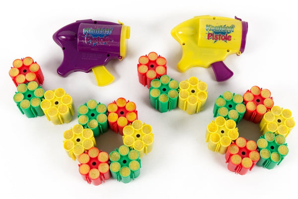 2 x Party Popper Confetti Gun with 18 x Refill Cartridge ammunition (108) cartridges
