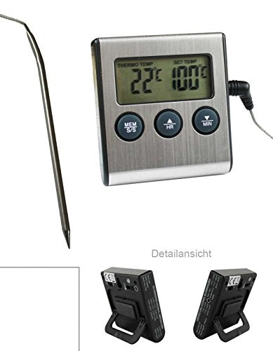 Digital Oven Thermometer with Probe / Heat Resistant up to 250 °C with Alarm and Timer Function, Magnetic, and on / off switch and Analogue Thermomete