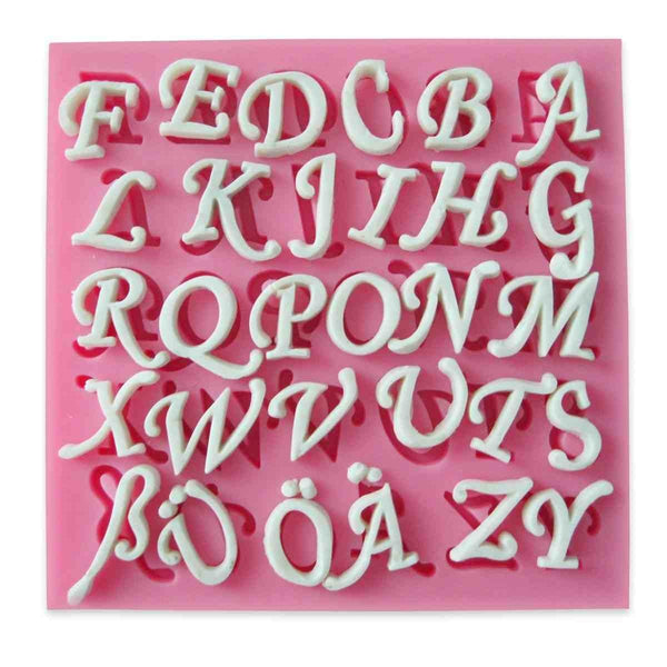 Silicone Mold With 30 Holes Inc. Letters Ä Ö Ü ß Cutters Fondant Alphabet Wedding Cookies