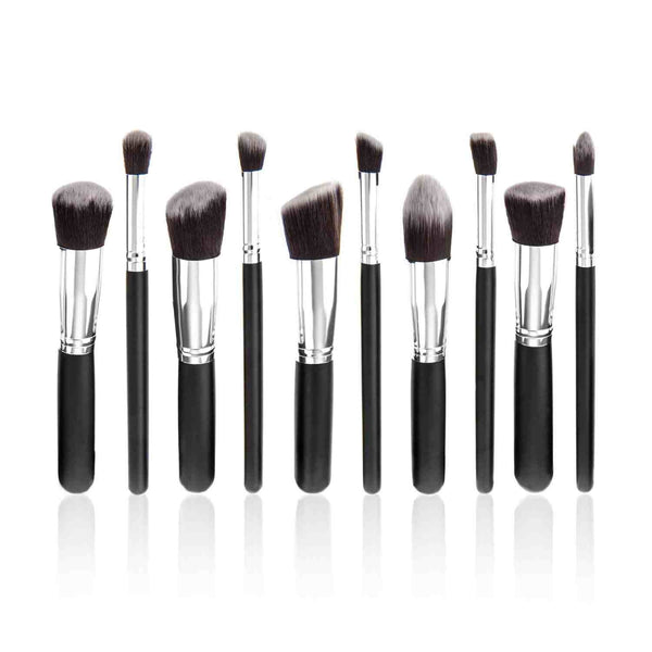 10 Make up Brushes Set for Foundation, Blending, Blush, Eyeliner, Face Powder - Synthetic Hair, Aluminium Ferrule, Natural Wood Handle