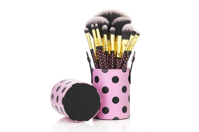12 Make up Brushes Cup Sets - 2-Colour polka dot pink Synthetic Hair, Gold Aluminium Ferrule, Natural Wood Handle, Leather Cup