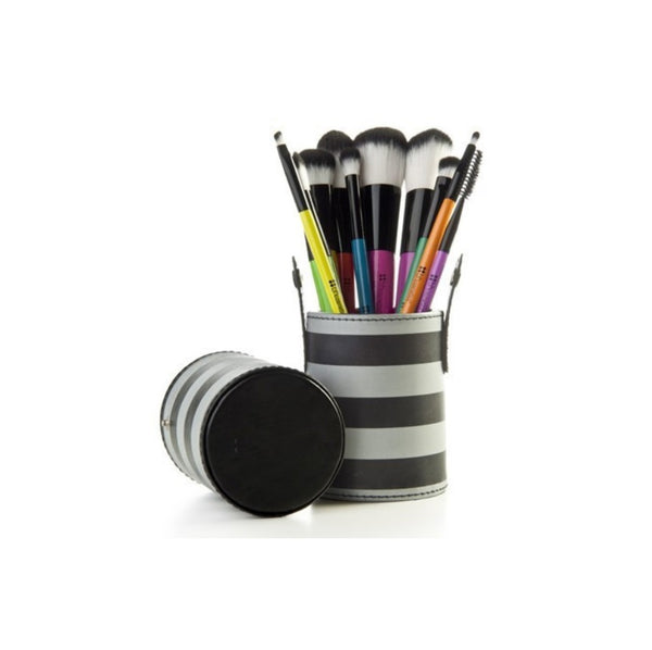 10 Make up Brushes Cup Set - Two Colours Black/Grey Striped Synthetic Hair, Black Aluminium Ferrule, Natural Wood Handle, Leather Cup