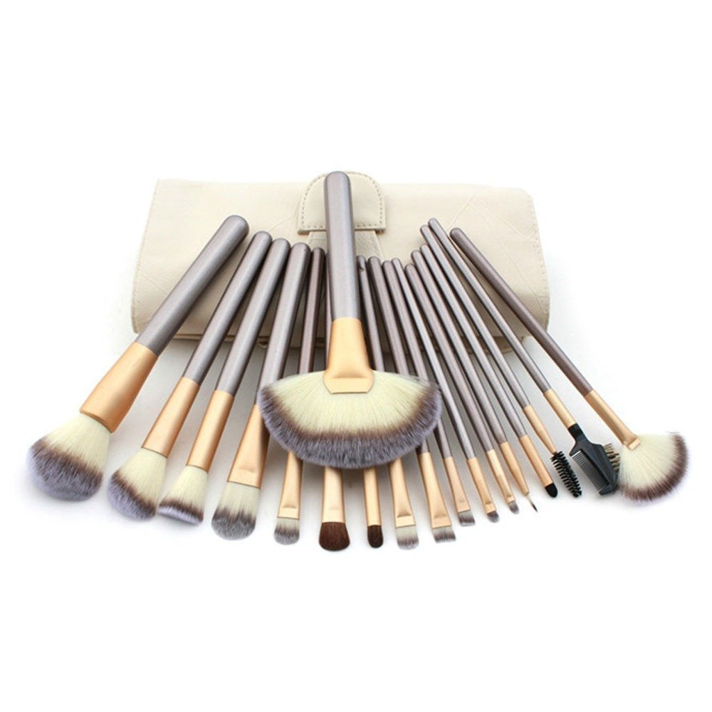 18 Make up Brushes Set - Synthetic Hair, Aluminium Ferrule, Wooden Handle, Cream Leather Bag