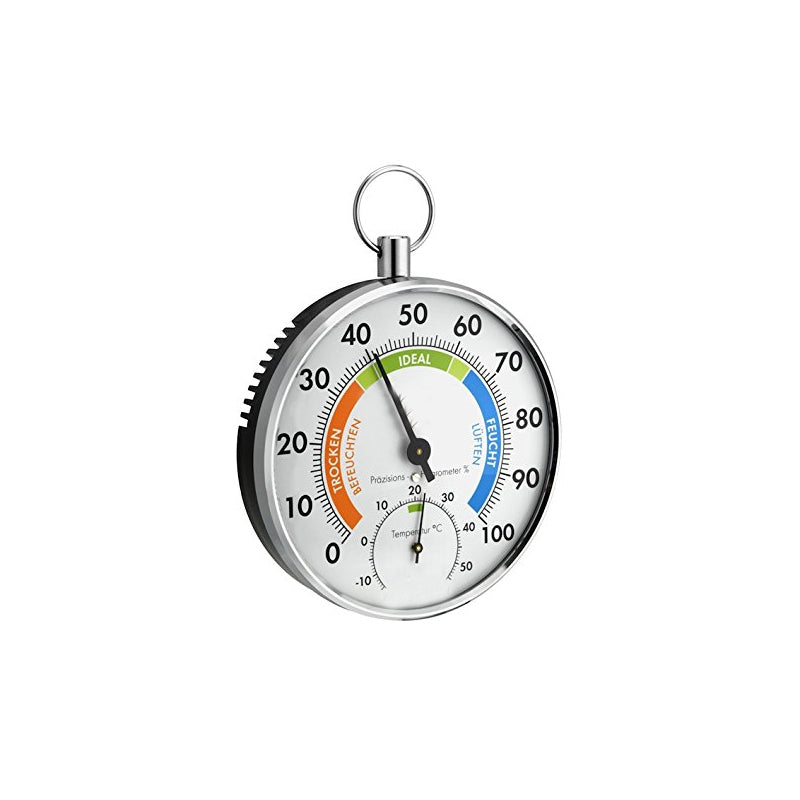Analogue Thermo Hygrometer | 2 Functions in 1 | Colour-coded Display | Indoors Outdoors | Humidity Temperature