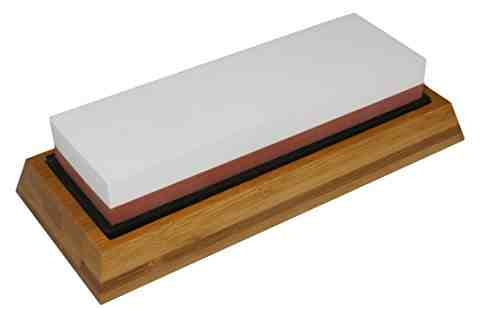 Double sides sharpening stones with silicone base and bamboo stand