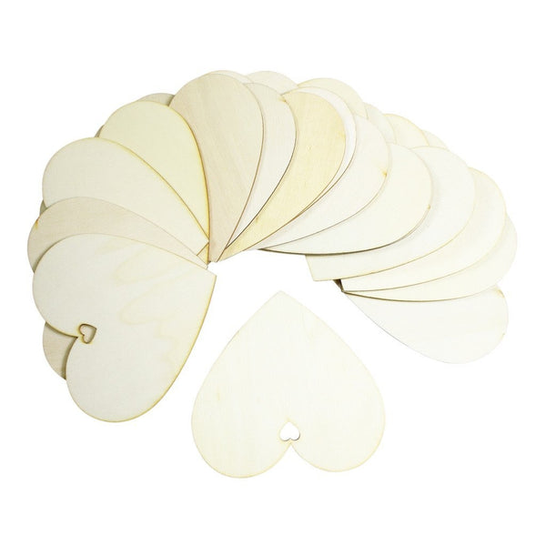 Set of 50 simple wooden heart pendants | Size 100mm | DIY projects, decorations, home embellishments, art, creative hobby