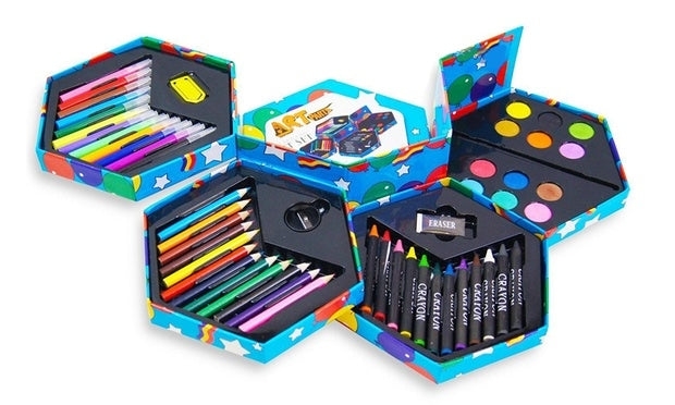Children's 52-Piece Craft Art Stationery Box | With felt tip pens, crayons, coloured pencils, paints, sharpener, eraser etc