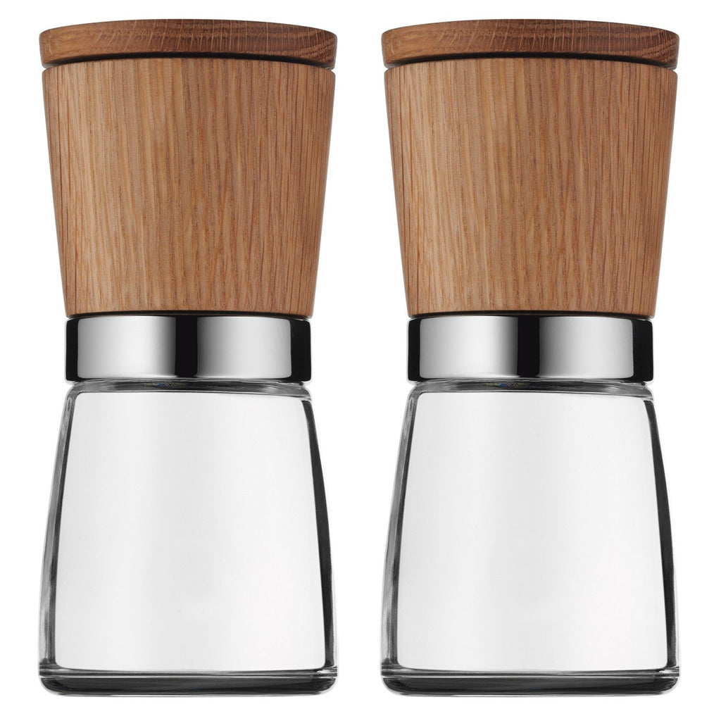 Wood Tops Salt & Pepper Mills | Elegant Set for Your Tableware in Glass, Plastic and Ceramic