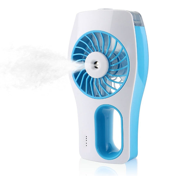 Handheld USB Misting Cooling Fan Humidifier Oil Diffuser Mini Beauty Replenishment Fan | Blue & White