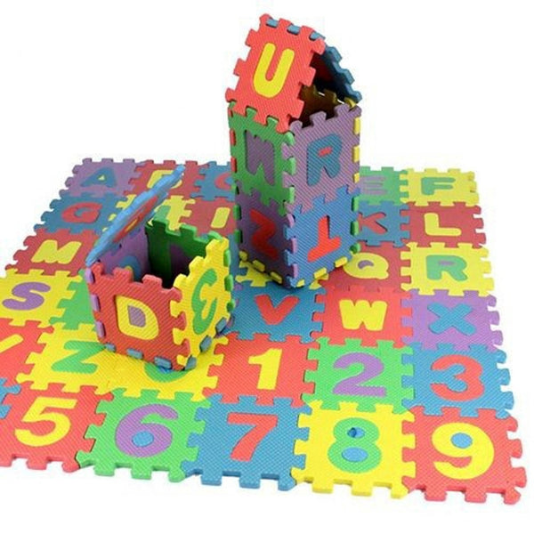 Jigsaw Puzzle Mat for Children with Letters and Numbers | Size: 17 cm | 36 Interlocking Pieces