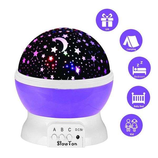 Stars Projector Lamp - Light Projector Night Projection Romantic for Children Kids Bedroom Gifts with 3 Modes 4 LED, 360 Degree Rotation - Blue