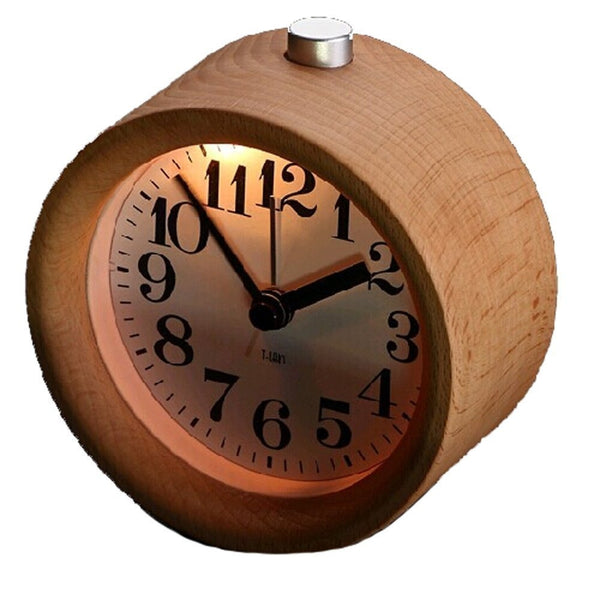 Wood Alarm Clock - Classic Small Round Silent with Snooze - Beech Wood Alarm Clock with night light