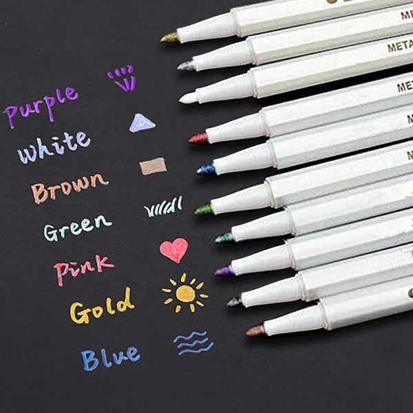 Set Of 10 Colours Waterproof Metallic Marker Pens Craft Diary Scrapbooking - For Paper, Plastic, Glass - Gold, Silver, Pink & More