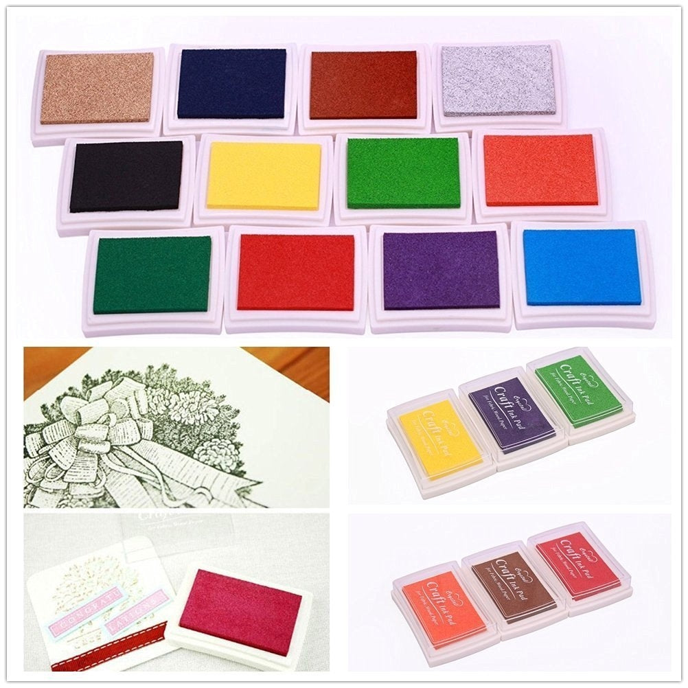 12x Ink stamp pads - Finger pressure, ink art for paper, scrapbook, painting, art, DIY, craft - 12 colours