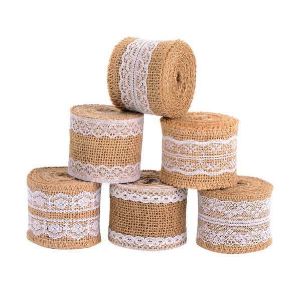 6 Pieces Natural Handicraft Tape Roll with White Lace for DIY Manufacturing Wedding Craft Lace Linen, 78.7 inches (2 Meters)