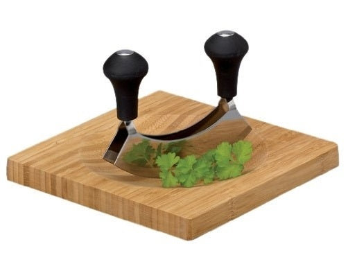 Herb Chopper/ Hachoir/ Mezzaluna Set - Herbs Cutting Board With Mezzaluna, Bamboo / 20 X 20 X 1.5 cm