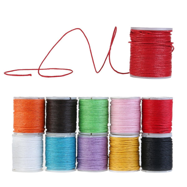 10 Rolls of Waxed Cotton Cord Band Cotton Thread, 10m 1mm For Jewelery Craft Creative Projects Bijoux
