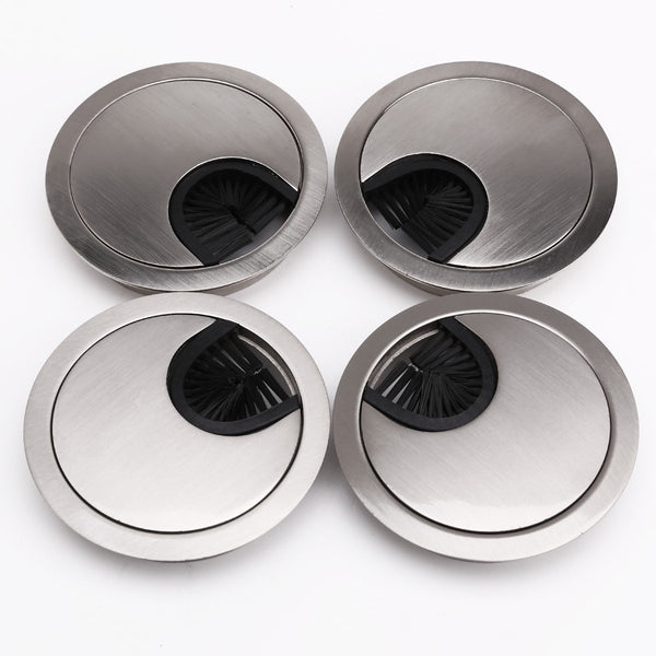 68 mm Metal Chrome Round Grommet - Desk Cable Tidy Insert PC Wire Hole - For Desk, Desktops, Office - Set of 4