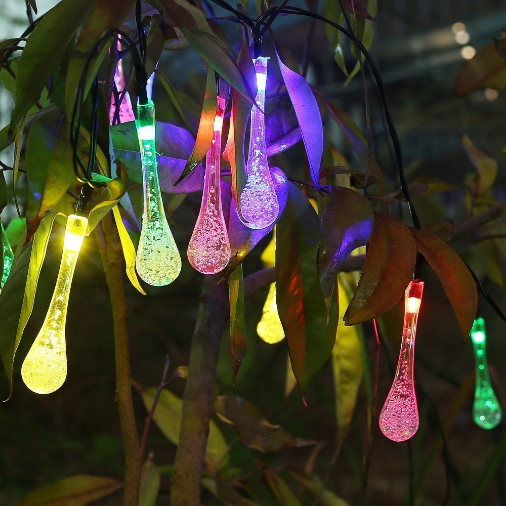 4.8M 20 LED Icicle Teardrop Lights Solar Powered Raindrop Garden String Lights - LED Waterproof Decorative Lights for Outdoor, Garden, Patio, Christma