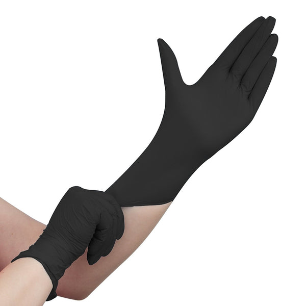 100 Pieces Black Nitrile Disposable Gloves - Powder Free and Non Sterile Cooking Gloves Tattoo Gloves - Size: L