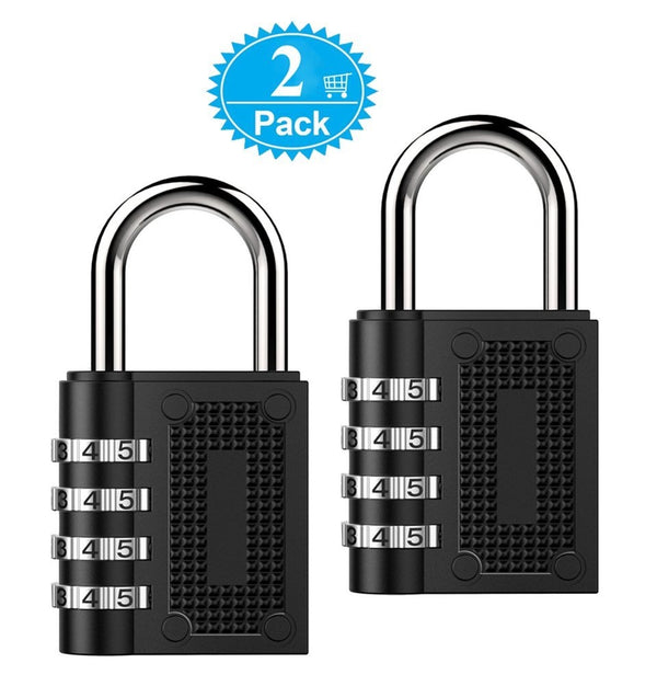 2 PACK Combination Padlock Lock, 4-Position, Combination Lock for Cabinets, Students, Travel, Toolbox
