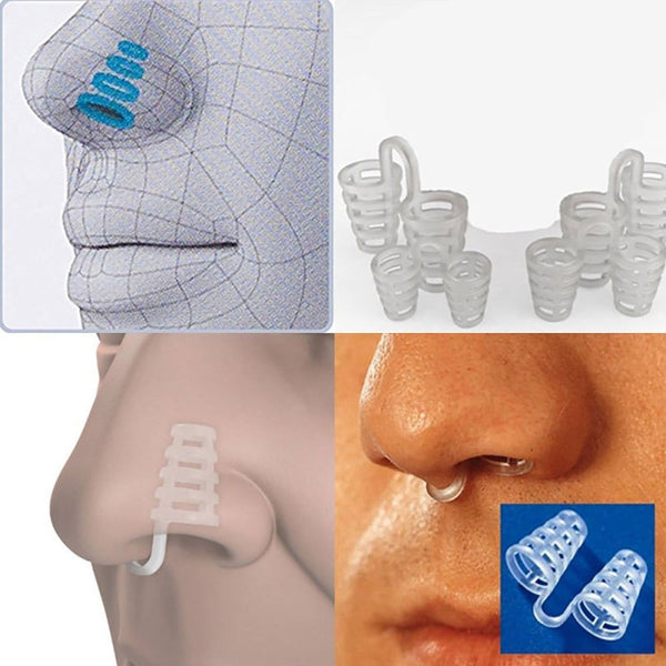 4 pieces - Anti-snoring nose dilatators - Transparent, soft and comfortable - Suitable for improving breathing during sports