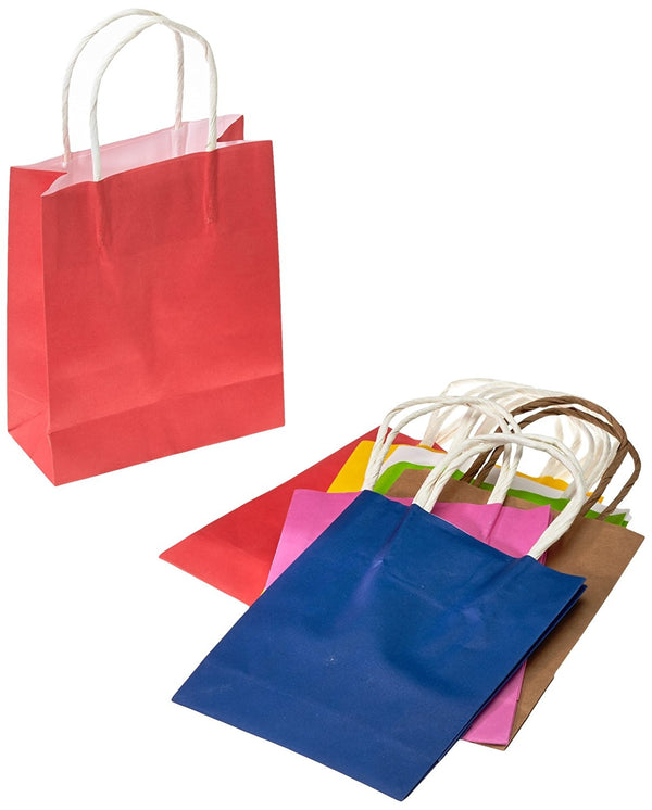 Paper Bags With Twisted Paper Handle, 12 X 5.5 X 15 Cm, 10 Pieces, Assorted Colors, For Gifts, Shopping, Parties
