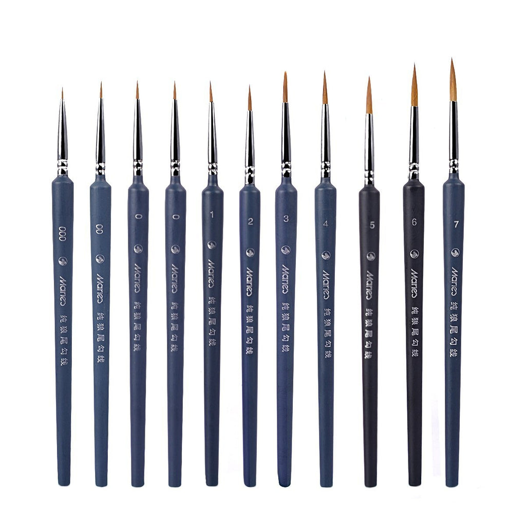 10 pcs professional brushes for details, high quality miniature brushes with fine point, for watercolor, oil, acrylic, nail art