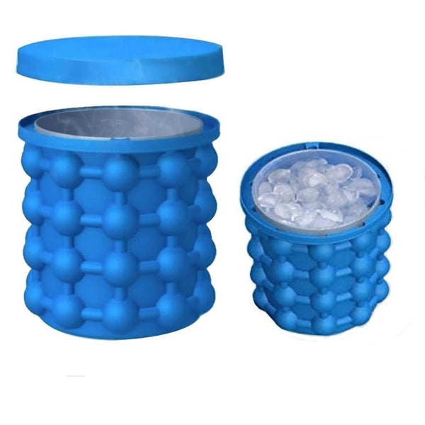 Ice Tray Silicone with Lid 2in1 Function Ice Cube Trays Ice Bucket with Lid, Saving Ice Cube Maker Ice Cube Maker for Beer Cocktails Whiskey