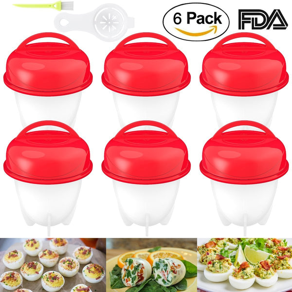 Boiled Eggs Non-Stick Silicone Container, Set Of 6 - Egg Cooker Hard Boiled Eggs Without The Shell, 6 Egg Cups - Red