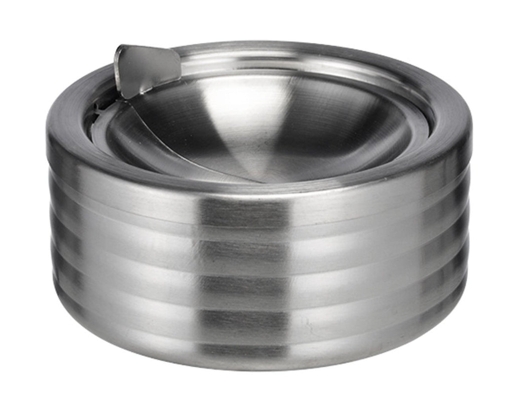 Cigarette Ashtray - Round Windproof Stainless Steel Ashtray with Lid - 1 Pc