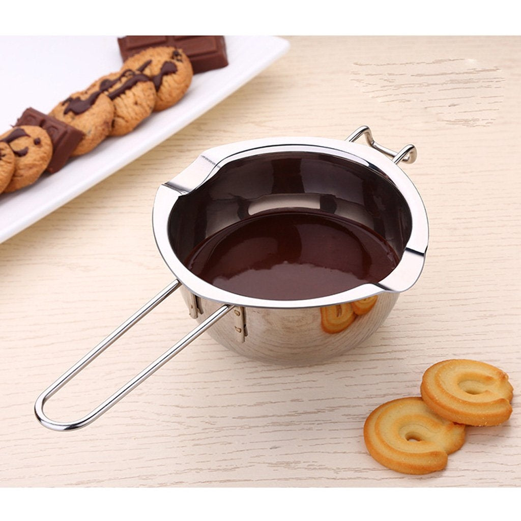 Melting Bowl, Stainless Steel Milk Pot, Milk Pan with 2 Pouring Lips and Front Hook Holder, Double Boiler Double Spouts, Butter Fondant Caramel Cheese