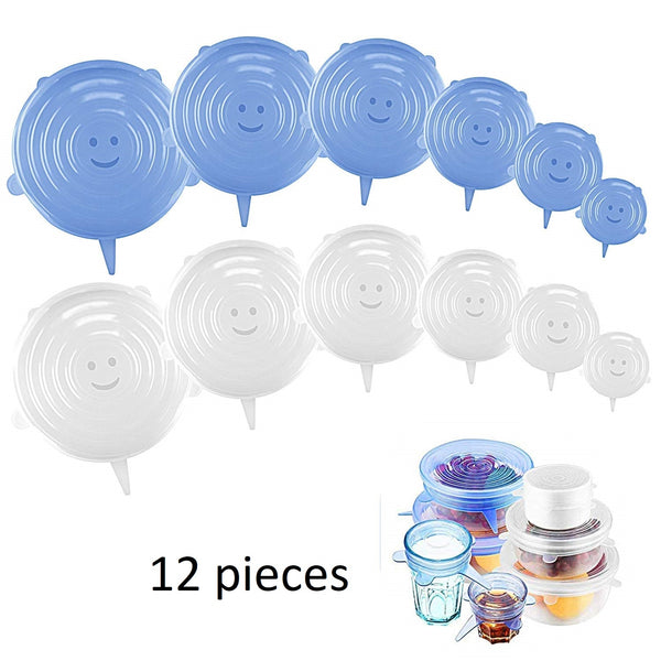 Pack of 12 Silicone Stretch Lid Silicone Covers in Various Sizes, Reusable Expandable for Bowls, Cups, Cans, Fruit