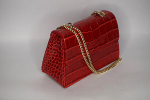 Red croc Mini Leather Bag