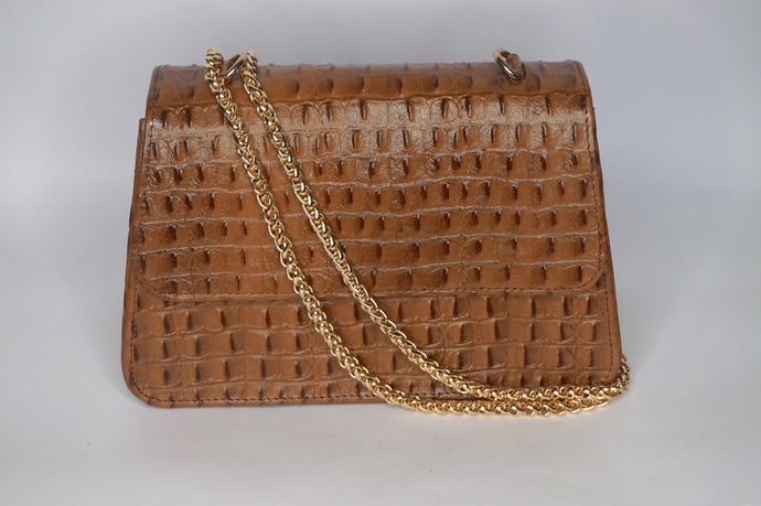 Midi Tee Bag - Brown Croc