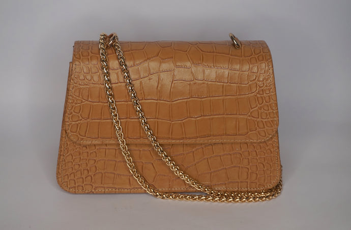 Midi Tee Bag - Light Brown Croc