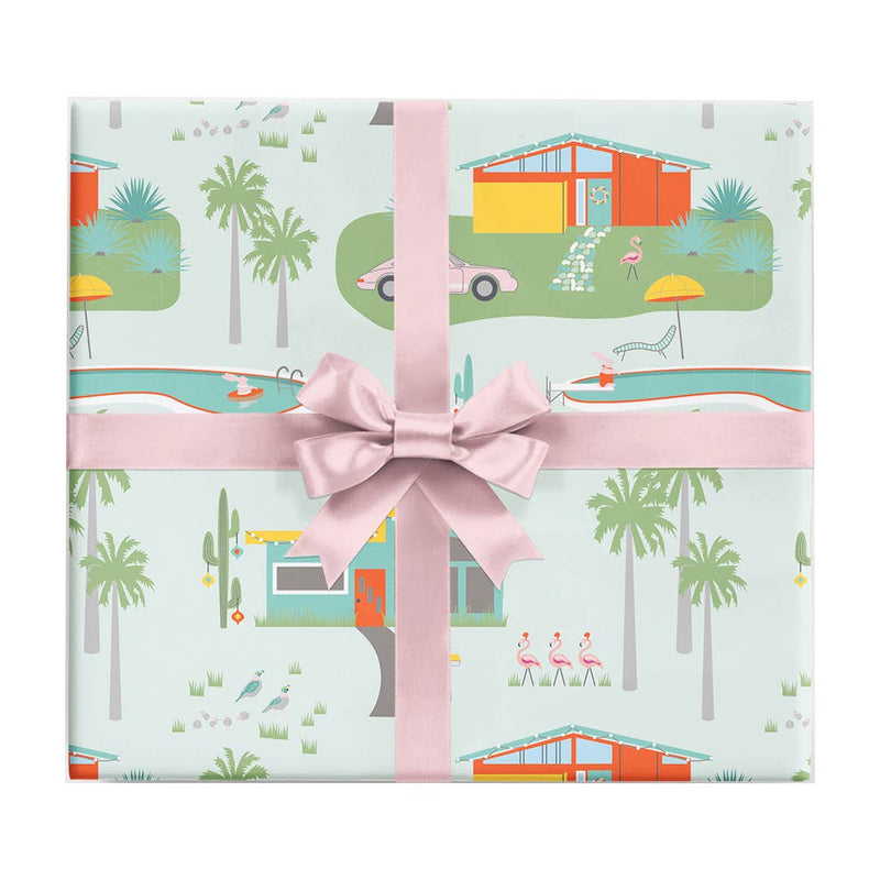 Palm Springs Holiday Wrapping Paper Sheet