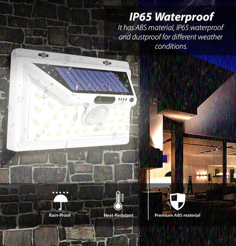 Solar Powered Security LED Light with Motion Detector Sensor